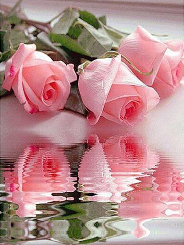 2017 Air Tiga Mawar Merah Muda Dekorasi Rumah 5d Diy Penuh Berlian