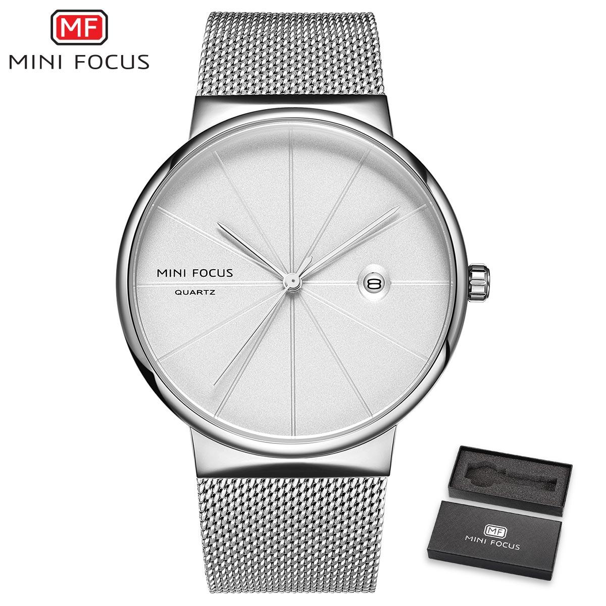 MINI FOCUS Classic Wristwatch Mens Quartz Clock Ultra Thin Silver Mesh Strap Date Display Fashion Minimalist Watch + Gift Box