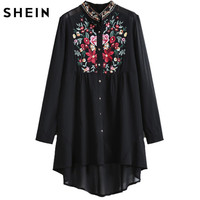 Tops Fashion 2015 Womens Stand Collar Long Sleeve Floral Embroidered Dipped Hem Blusas European Brand Spring