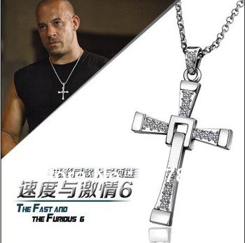 Fast and Furious Dominique Cross Pendant Necklace Gold Color & Silver color rhinestone crystal fashion jewelry brothers gift image