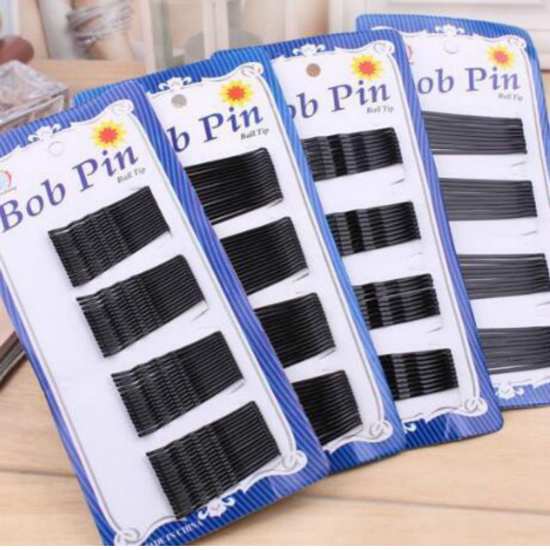 1 Pack 60pcs Popularity Simple Hairpins Black Alloy Hair Clip Bobby Pin Hair Accessories Headwear Ball Tip Pins