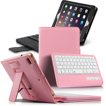 Magnetic Button Belt Embedded Leather Bluetooth Tablet Keyboard with Framed Tablet Stand Protector Keyboard Pad for iPad Mini 4 spain stock chuwi hi12 tablet gray magnetic docking keyboard