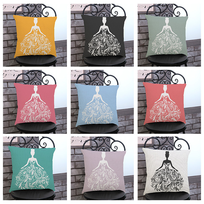 Creative Wedding dress shadow coloful Pillow case Cushion Cover chair sofa seat Home house shop party wedding Decorations gift