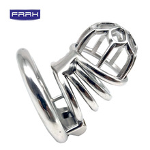 FRRK Plum shape Metal Chastity Cage Male with Penis Plug Include Anti-off Ring  One brass padlock two keys