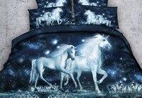 Лошадь Единорог постельных принадлежностей 3D Утешитель простыней листов льняной килт пододеяльник Калифорния King queen Размер ПОЛНЫЙ twin 5 шт