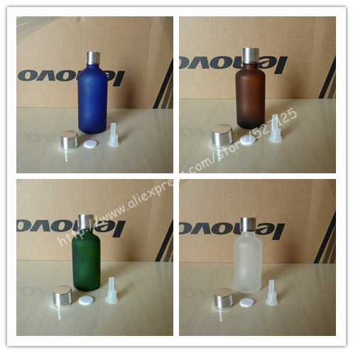 50ml frosted clear green brown blue glass bottle with shiny silver aluminum screw cap lines essential