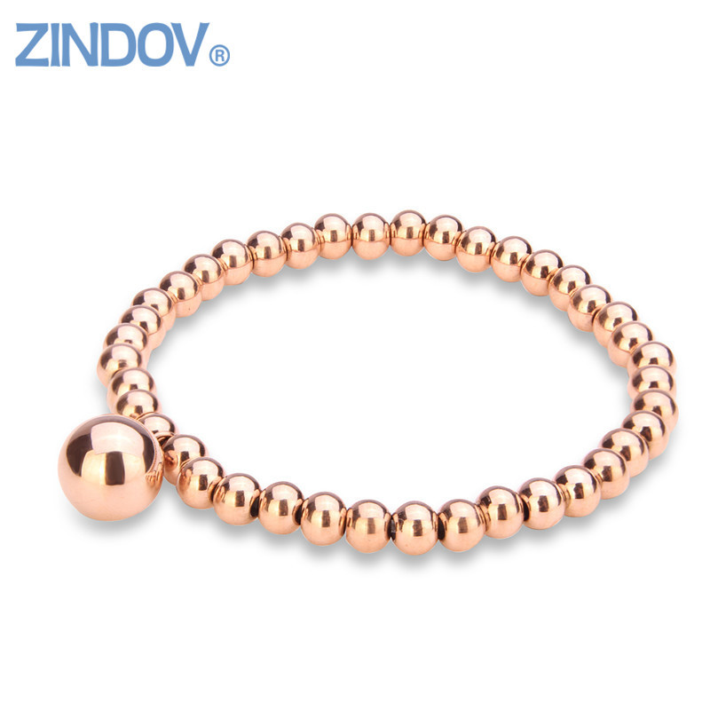 цена на Trendy Rose Rold Gold Silver Stainless Steel Handmade Cute Beaded Stretch Charm Bracelet Women Jewelry Bracelets Wristband Girls