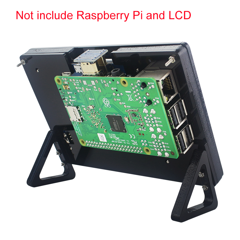 Computer & Office ... Demo Board & Accessories ... 32716682762 ... 3 ... Raspberry Pi 3 Model B+ Plus 5 inch LCD Acrylic Bracket Case Black White Fixed Bracket Holder for 800*480 Touchscreen Support ...