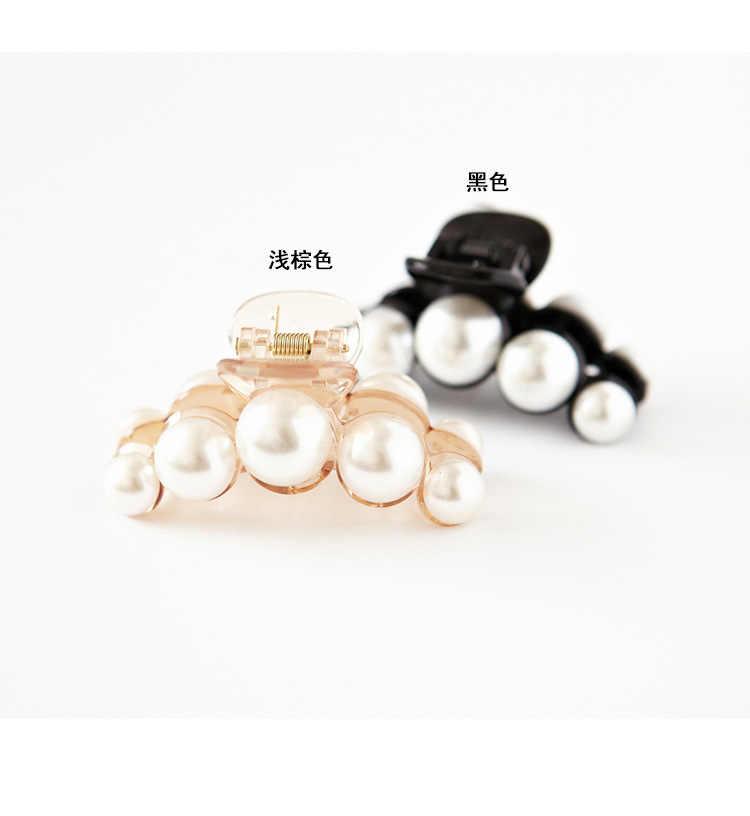 كوريا الجديدة عالية مشرق لؤلؤة الشعر مجوهرات المشبك اليابانية والكورية الاكريليك مشبك شعر متوسطة الصانع