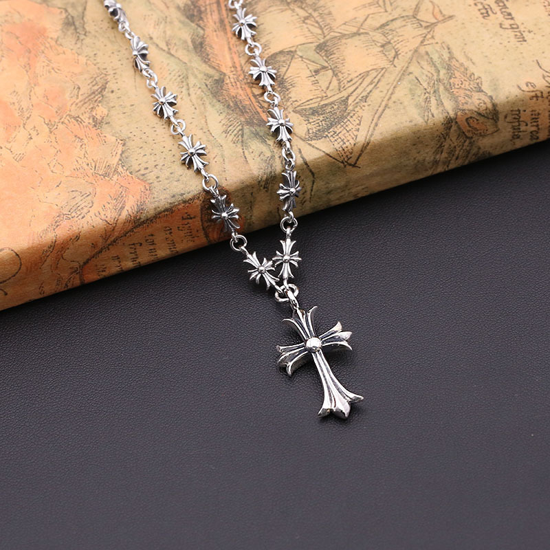 Starfield S925 Sterling Silver Retro Thai Silver Vintage Style Cross Necklace Men Women Personalized Sweater Chain цена 2017