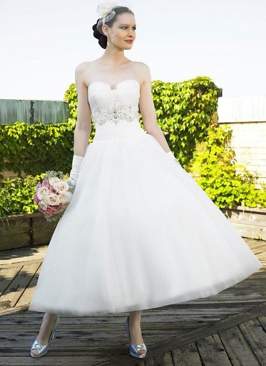 Popular Tea Length Wedding Dress-Buy Cheap Tea Length Wedding ...