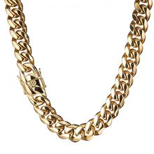 7-40 Inches Miami Curb Cuban Link Chain For Men 16mm Wide Trendy Stainless Steel Gold Color Necklace Or Bracelet Jewelry gold color heavy huge stainless steel miami curb cuban link chain bracelet bangle 8 11 inches customized length for men 16 18mm