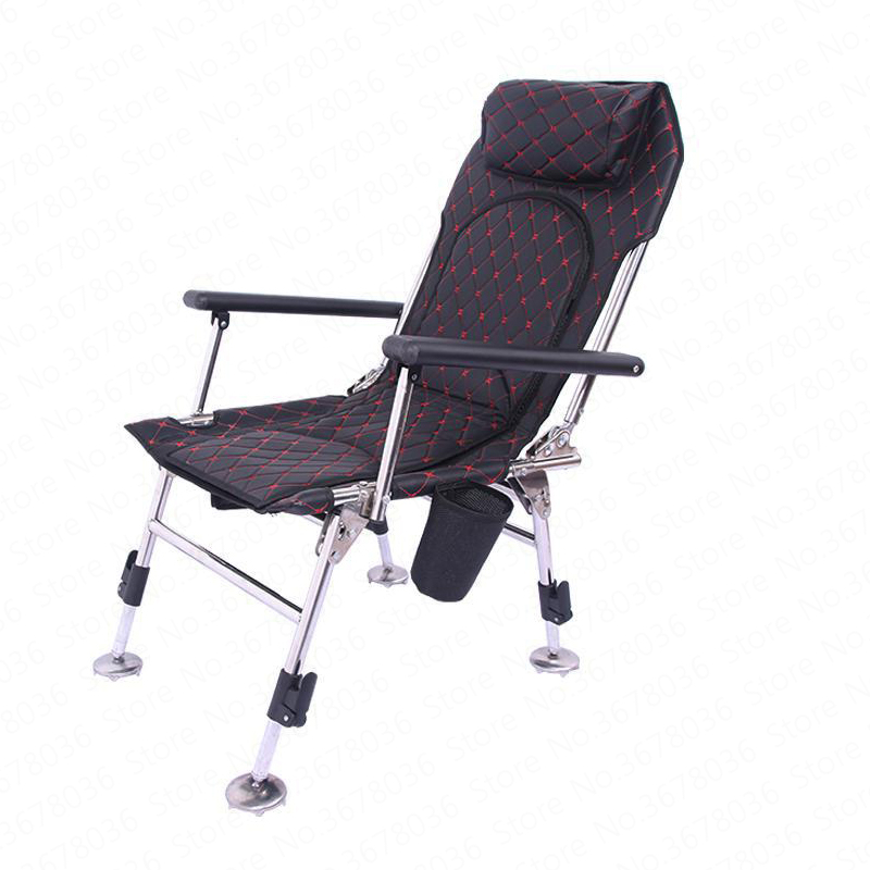 European Folding Fishing Chair Portable Multi-function Lifting Platform Stainless Steel Recliner Stool Beach Foldable Chair(China)
