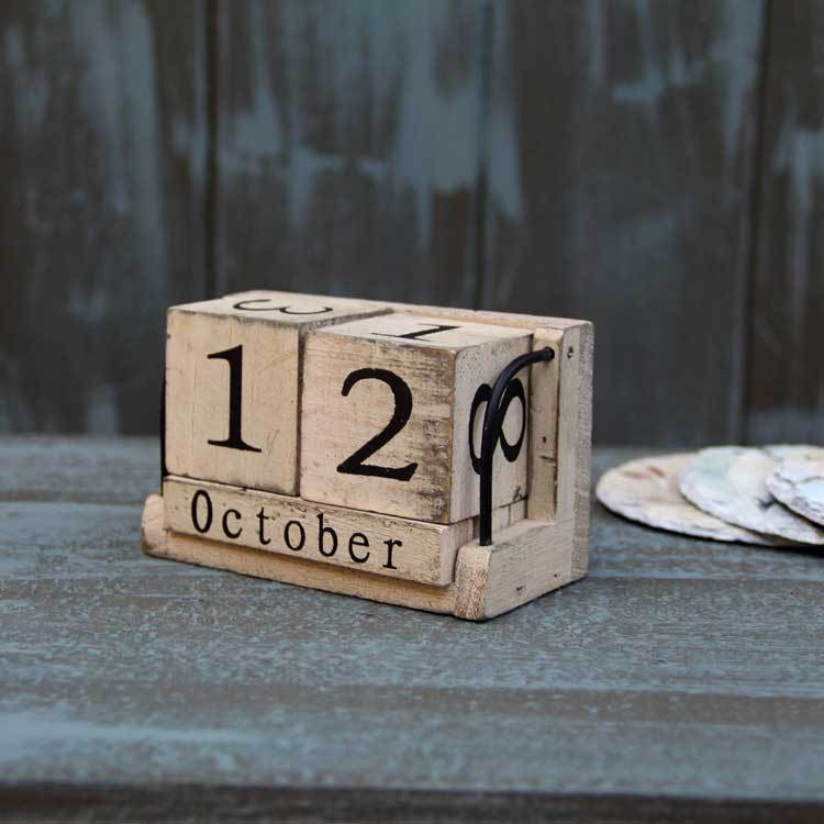 product AIBEI-Wood Calendar Zakka Furnishing Articles Manually Small Desk Vintage Calendar Household Daily free Shipping Log Crafts Wood