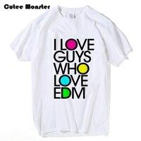Uomini Hip Hop Lettera T shirt Moda Musica Dance Elettronica Ispirato design per EDM Lovers Top Manica Corta Amo RAGAZZI T-Shirt
