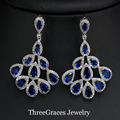 Elegant Simulated Sapphire Jewelry Marquise Shape Cubic Zirconia Royal Blue Big Crystal Drop Dangle Earrings For Ladies ER280