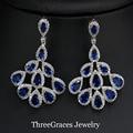 Elegante Simulado Sapphire Marquise Forma de Jóias Cúbicos de Zircônia Azul Royal Big Cristal Gota Dangle Brincos Para Senhoras ER280