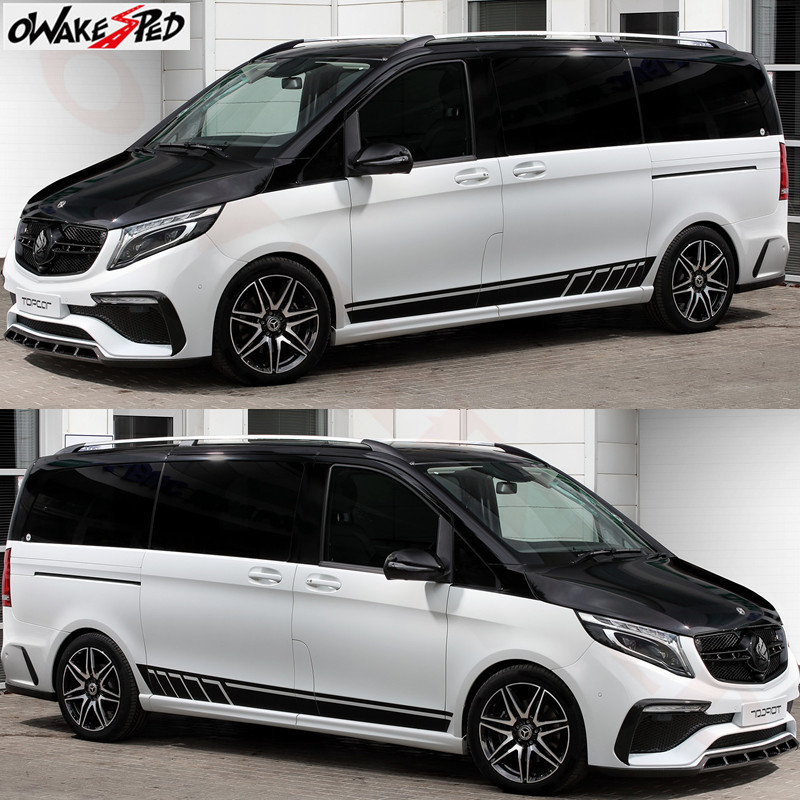 1 Pair 2 PCS Racing Side Stripes Logos Decals Stickers Vinyl Graphics For Mercedes V Class Vito Viano