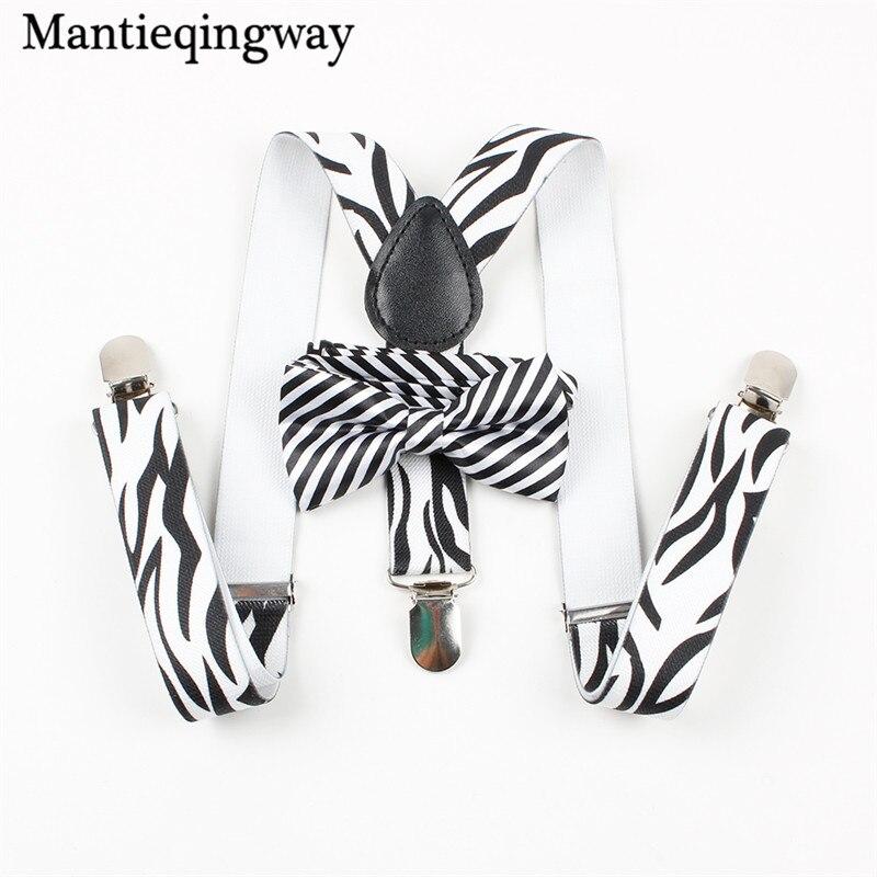 Mantieqingway Kids 3 Clip-on Elastic Striped Braces Belt Straps Wedding Accessories Baby Girls Boy's Kids Suspenders Bowtie Set