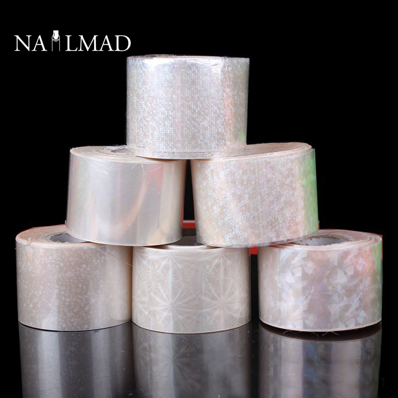 120m/roll Holographic Nail Foils Starry Sky Glitter Foils Nail Art Transfer Sticker Paper 1 roll 4cm 120m gold silver holo starry sky nail foil tape nail art transfer sticker nail art decoration tools