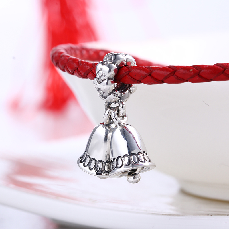 Authentic100% 925 Sterling Silver Charms Fit Original Pandora Bracelet Christmas Bell DIY Charms Beads for Jewelry Making Gift