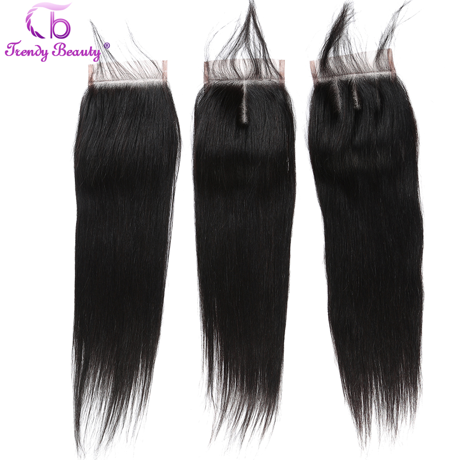 Image 5 - Trendy Beauty Peruvian straight hair 4 bundles with closure 100% human hair bundles with baby hair closure Middle/Three/Free-in 3/4 Bundles with Closure from Hair Extensions & Wigs