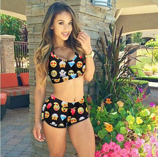ФОТО 2016 New Women Tankini Swimwear Sexy Swimsuit with Shorts Sporty Bathing Suits Women two Pieces Swimsuit