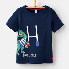 Little Maven New Summer Kids Clothing Short O-neck Blue Dinosaur Letters Knitted Cotton Quality Boys Casual 1-6yrs Tshirt