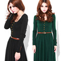 HOT Brand New Women knitting Slim Fit Dresses Long Sleeve Dress+Belt