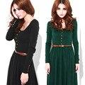 Marca hot novas mulheres de tricô vestidos slim fit manga longa dress + belt