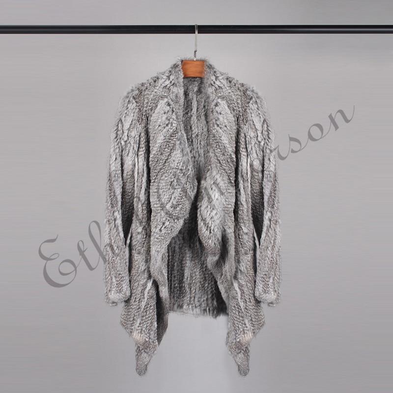 De Grey Femmes Cardigan Populaire Réel Manches Lapin Gros Pardessus Longue Manteau Printemps Pleine D'hiver Fourrure Poche Veste Tricoté 5qxTwdXYd