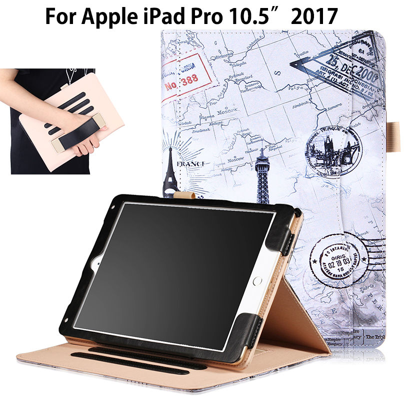 High Qualtiy PU Leather Case For Apple new iPad Pro 10.5'' 2017 A1701 Case Smart Cover Sleep Funda Tablet Hand Holder Stand Case 2016 new pad pro 9 7 flip cover for apple ipad mini pro 9 7 tablet case pu leather case hand holder card slot