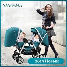 SHENMA коляска для малышей-близнецов двойной ребенок может сидеть и заложить света Складная коляска
