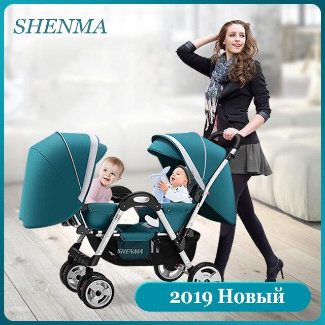 SHENMA Twin kinderwagen Dubbele baby kan zitten en lag licht opvouwbare kinderwagen Gratis verzending