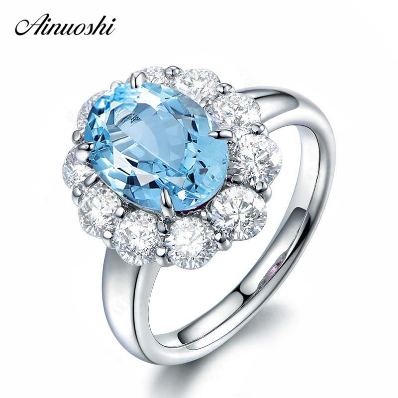 AINUOSHI 3 Carat Oval Cut Ring Pure 925 Silver Sky Blue Natural Topaz Halo Ring Fashion