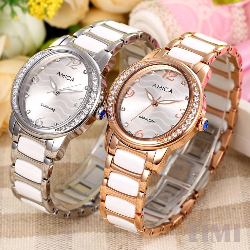 ФОТО AMICA 2017 Crystal case Sapphire head Womens quartz watch ladys watch A11