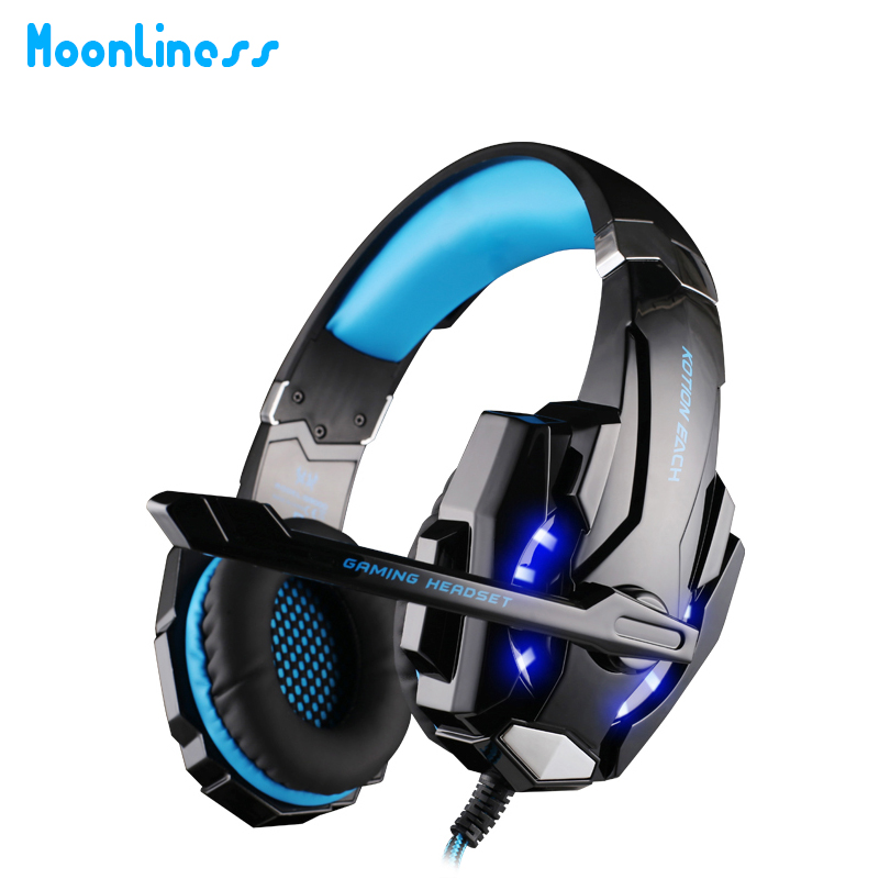 Moonliness G9000 3.5mm Game Gaming Headphone Headset Earphone With Mic LED Light For Laptop Tablet / PS4 / Mobile Phones each g9000 bass gaming headset headband earphone with microphone led light gamer usb headphone for laptop tablet mobile phones