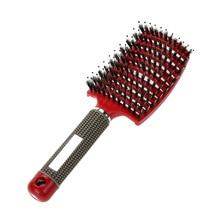Peine para el cuero cabelludo masaje Peine cepillo de cerdas y nylon mujeres Mojado rizado desenredar cepillo para el salón de peluquería herramientas de peinado