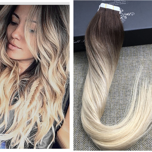 Full Shine Blonde Ombre Human Hair Balayage Skin Weft