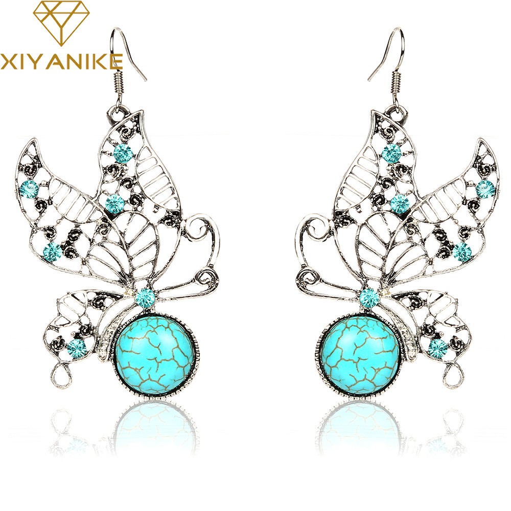New Special Womens Butterfly Pendant Drop Earrings Ancient Silver Brilliant earrings Female Accessory brincos XY-E919