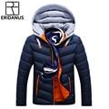 Chaqueta de invierno hombres sombrero desmontable abrigo cálido algodón acolchado Outwear hombres abrigos chaquetas con capucha cuello delgado ropa gruesas Parkas X327