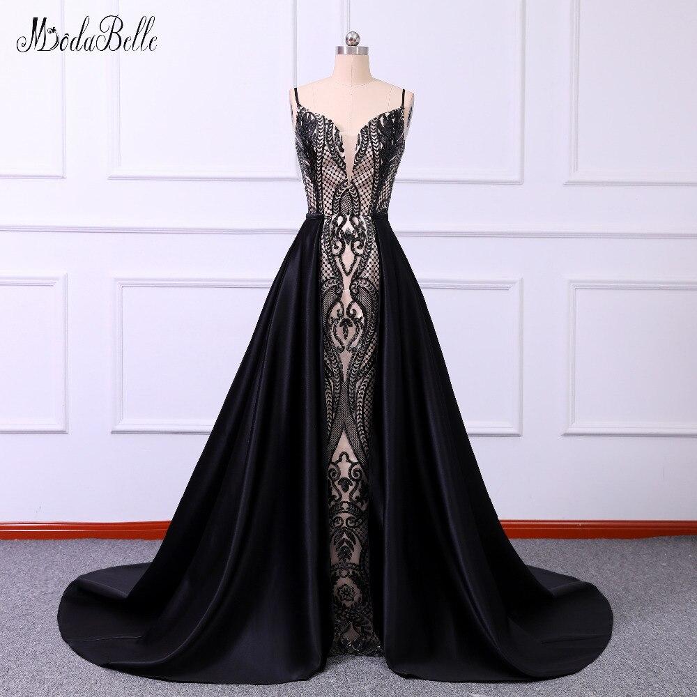 modabelle 2019 Black Prom Dress With Detachable Train Vestido Formatura Sequins Sexy Prom Dresses Vestido De Festa Longo