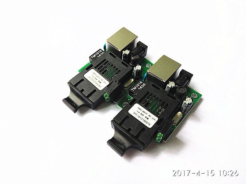 Telecom Grade Mini Single-mode double fiber media converter optical transceiver RJ-45 1 SC 10 / 100M 20KM