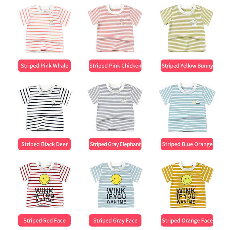 בני חולצה ילדה חולצה ילדי חולצת טי תינוק למעלה ילדים פעוט קיץ טי פיל חיוך פנים כותנה פסים 3 M כדי 5 שנים