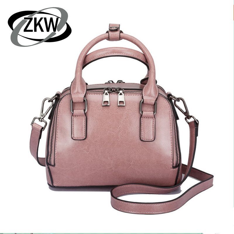 ZKW 2019 New Korean Fashion Genuine leather Handbag Shoulder Bag handbag Leather Satchel Ladies Bags