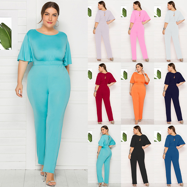 Fashion Women Plus Size Jumpsuit O-Neck Half Sleeve High Waist Solid Large Size Playsuit Rompers Loose Casual Overalls Female