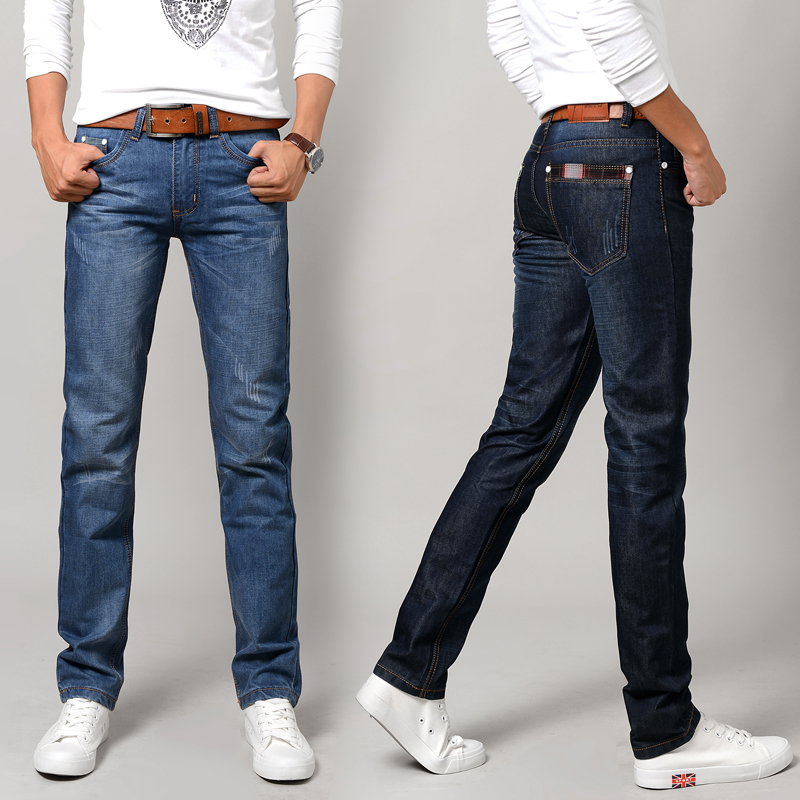 Jeans male summer thin male casual denim trousers spring and summer high waist loose straight pants k36-p45
