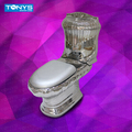 Tonys silver Two Piece ceramic toilet quality silver toilet ktv toilet Villa clubhouse Bathroom Wash-down ceramic closestool