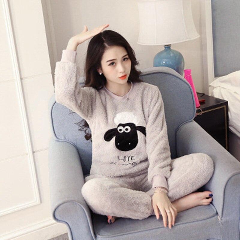 2020 Fashion Female Pajamas Set Plush Pajamas Two Piece Home Sleepwear Pajama Set Sexy Winter Adults Pajama Pajamas For Women