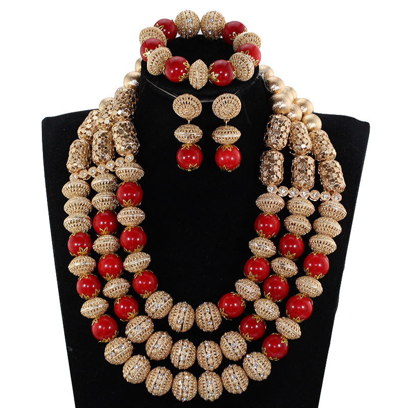 2018 Dubai Bridal Jewellery Set Fantastic Red and Gold Wedding Jewelry Set for Women African Beaded Necklace Set ABH8182018 Dubai Bridal Jewellery Set Fantastic Red and Gold Wedding Jewelry Set for Women African Beaded Necklace Set ABH818